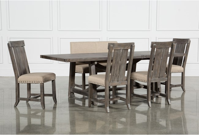 Jaxon Grey 6 Piece Rectangle Extension Dining Set With Bench & Wood Chairs - 360