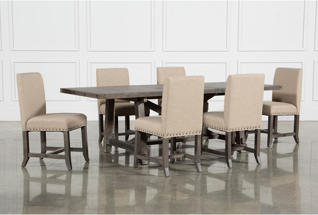 Jaxon Grey 7 Piece Rectangle Extension Dining Set With Upholstered Chairs - 360