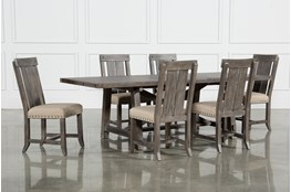 Jaxon Grey 7 Piece Rectangle Extension Dining Set W/Wood Chairs