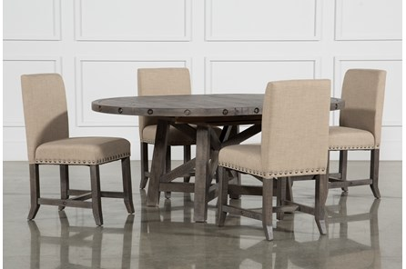 Jaxon Grey 5 Piece Round Extension Dining Set W/Upholstered Chairs