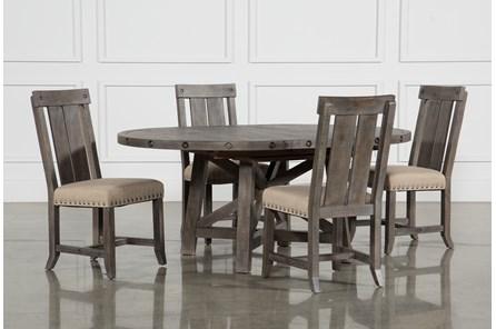 Jaxon Grey 5 Piece Round Extension Dining Set W/Wood Chairs