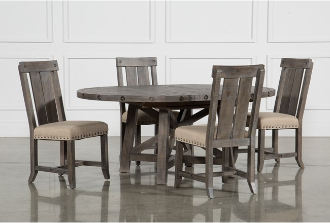 Jaxon Grey 5 Piece Round Extension Dining Set W/Wood Chairs - 360