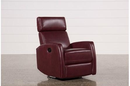 Lola Chile Leather Swivel Glider Recliner W/ Adjustable Headrest