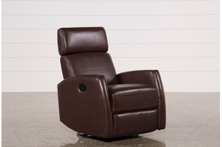 Lola Walnut Leather Swivel Glider Recliner W/ Adjustable Headrest