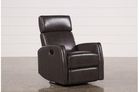 Lola Grey Leather Swivel Glider Recliner W/ Adjustable Headrest