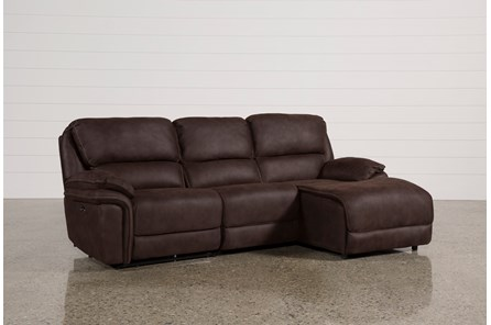 Norfolk Chocolate 3 Piece Sectional W/Raf Chaise