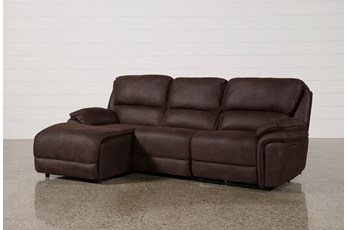 Norfolk Chocolate 3 Piece Sectional W/Laf Chaise