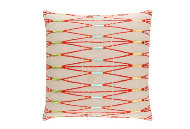 Accent Pillow- Beige Multi Zig Zag 18X18 - 360