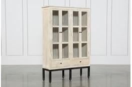 White Wash 4-Door Curio Cabinet