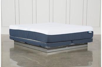 Blue Hybrid Plush Eastern King Mattress W/Low Profile Foundation