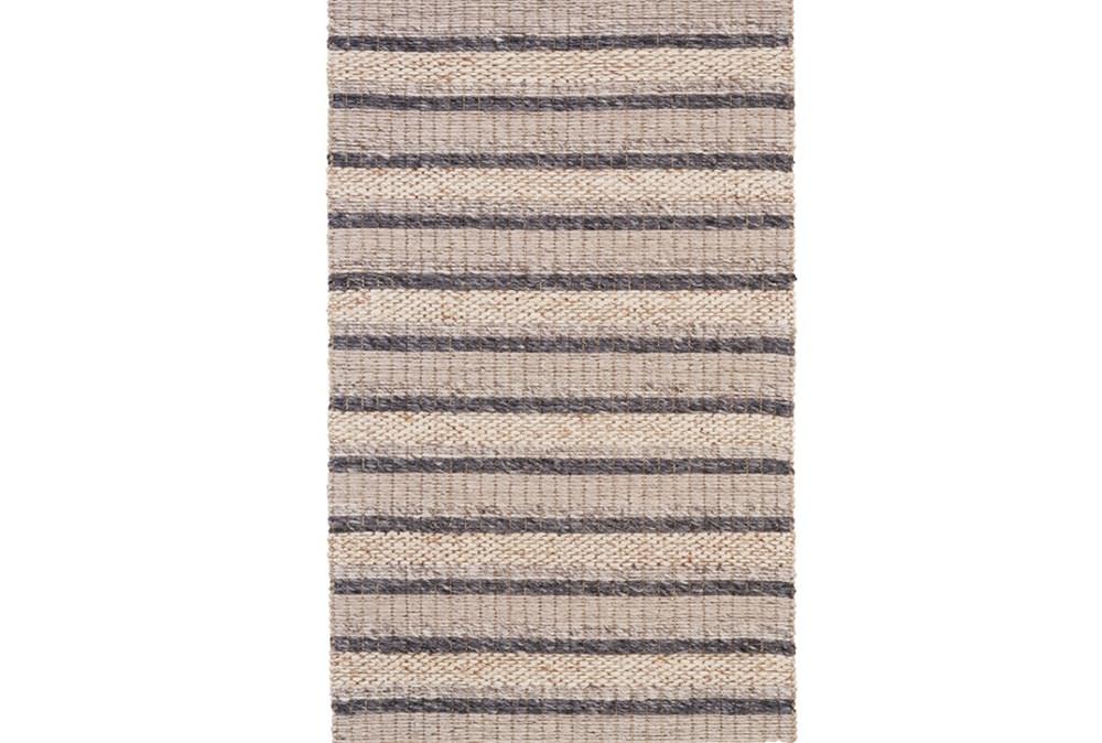 60X96 Rug-Natural Textured Wool Stripe