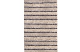 96X132 Rug-Natural Textured Wool Stripe