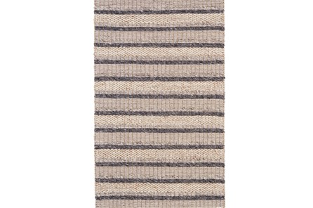 96X132 Rug-Natural Textured Wool Stripe