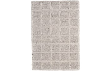 114X162 Rug-Ivory Textured Wool Grid