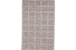 60X96 Rug-Grey Textured Wool Grid