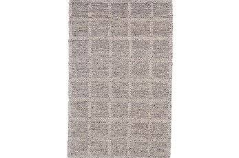 60X96 Rug-Grey Textured Wool Grid