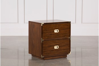 Adams Walnut 2-Drawer Nightstand