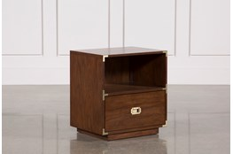 Adams Walnut 1-Drawer Nightstand