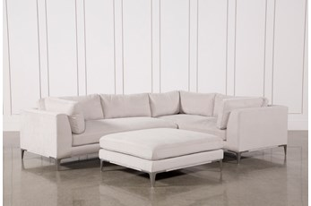 Apollo Light Grey 2 Piece Sectional W/Ottoman