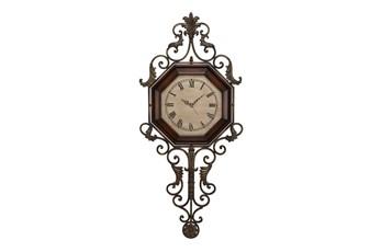 39 Inch Scroll Wood & Metal Wall Clock