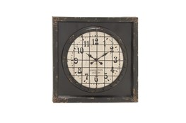 39 Inch Rustic Metal Grid Wall Clock