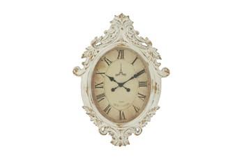 33 Inch White Shabby Wood Wall Clock