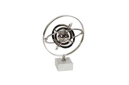 15 Inch Silver Ceramic Armilary Sphere