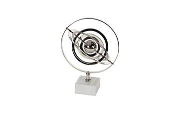 18 Inch Silver Ceramic Armilary Sphere