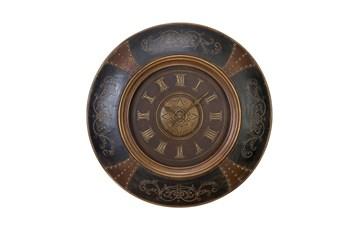 36 Inch Wood Leather Scroll Wall Clock