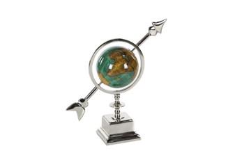 14 Inch Silver & Turq Globe