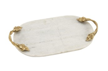 2 Inch Silver Marble & Gold Oval Tray