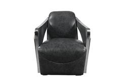 Ebony Leather & Steel Chair
