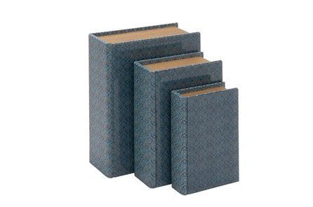 3 Piece Set Blue Glass Book Box