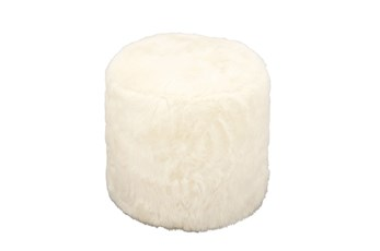 Youth-17 Inch White Faux Fur Round Ottoman