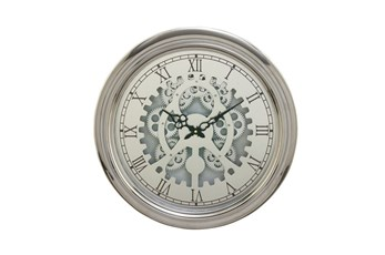 19 Inch Silver Gear Wall Clock