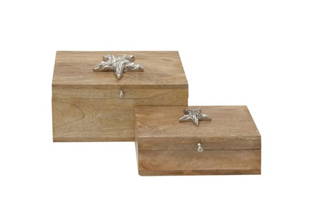 2 Piece Set Starfish Wood Box
