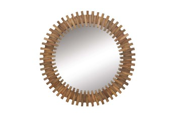 35 Inch Wood Gear Wall Mirror