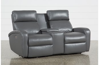 Darwin Graphite Power Reclining Loveseat W/Console
