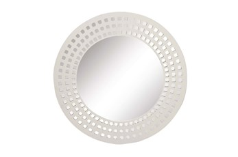 31 Inch White Lattice Round Wall Mirror