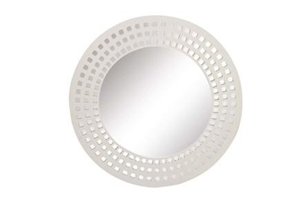 31 Inch White Lattice Round Wall Mirror