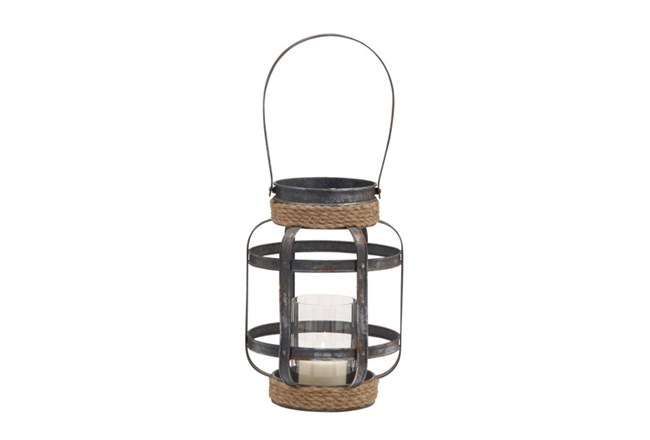 13 Inch Mixed Media Rope Candle Lantern - 360