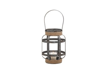 12 Inch Mixed Media Rope Candle Lantern