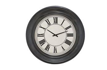 32 Inch Dark Wood Round Wall Clock