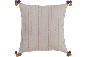 Accent Pillow-Pink & Blue Pom Poms 22X22