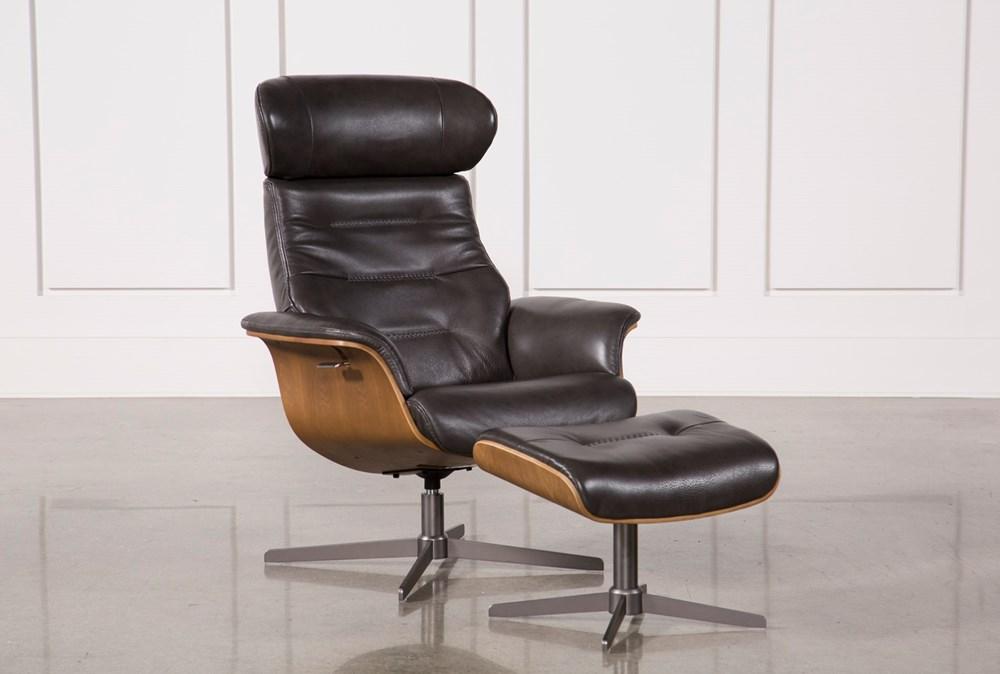 Amala Dark Grey Leather Reclining Swivel Chair With Adjustable Headrest And Ottoman