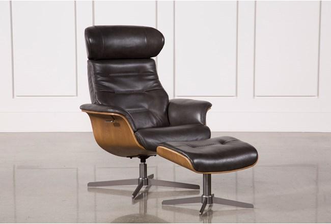 Amala Dark Grey Leather Reclining Swivel Chair With Adjustable Headrest And Ottoman - 360