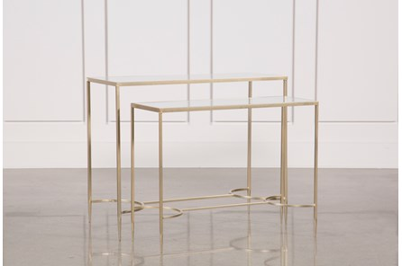 2 Piece Metal And Glass Console Tables
