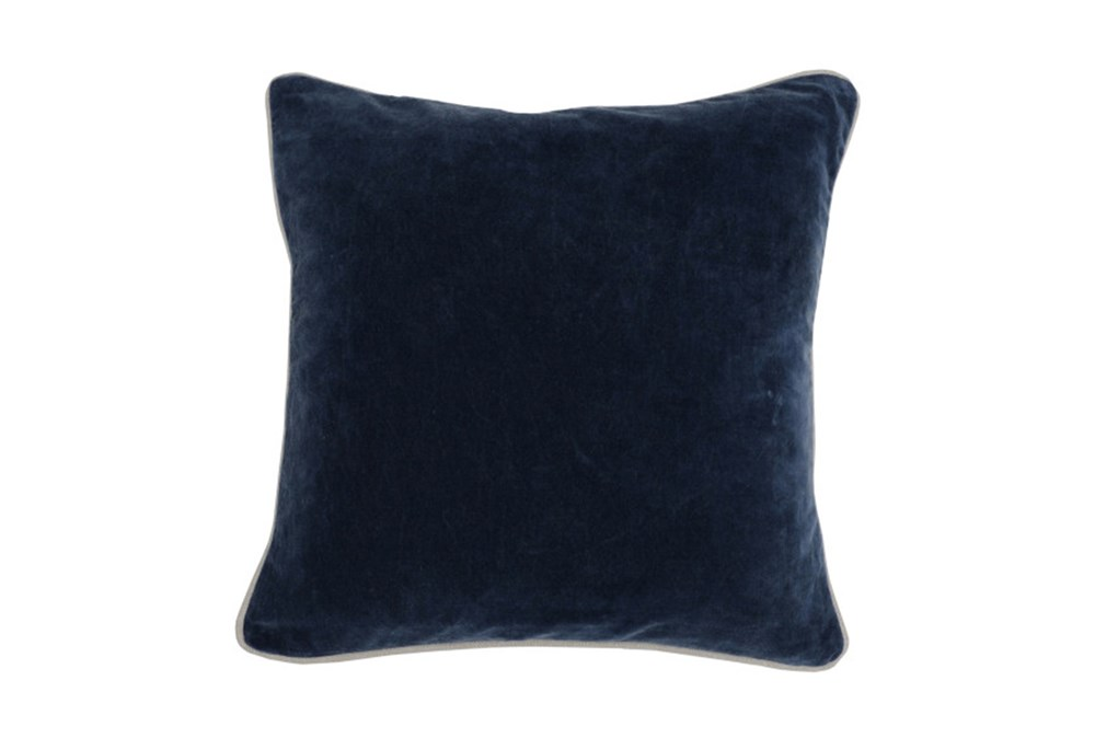 Accent Pillow-Navy Blue Washed Velvet 18X18