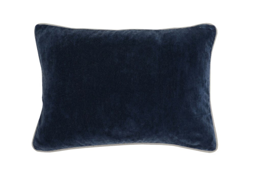 Accent Pillow-Navy Blue Washed Velvet 20X14