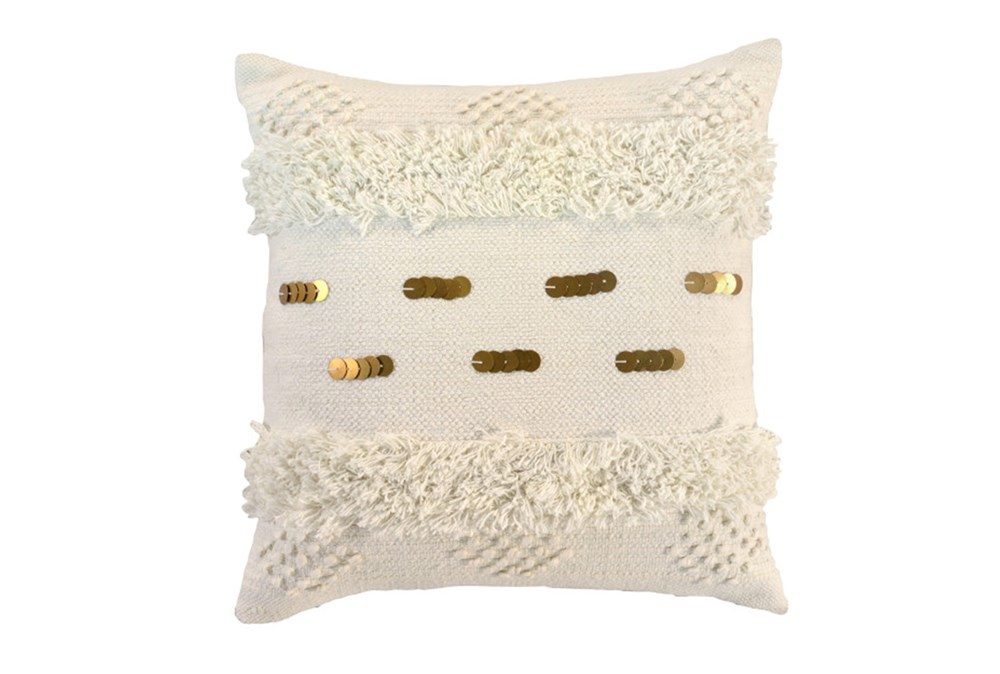 Accent Pillow-Ivory Bohemian Ruffle 22X22